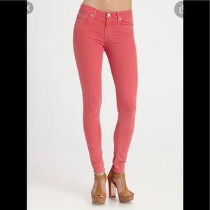 Hudson Nico Mid Rise Pink Orange Super Skinny Jean